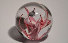 SUPERB WEDGWOOD ABSTRACT PINK ART GLASS PAPERWEIGHT SIGNED AND LABEL