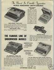 1955 PAPER AD Smith Corona Underwood Portable Typewriter Finger Flite Champion