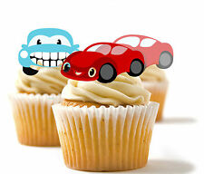 ✿ 24 Edible Rice Paper Cup Cake Toppings, Cake decs - Cars ✿