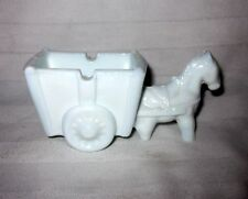 K.R. HALEY VINTAGE MILK GLASS HORSE AND CART ASH TRAY