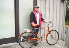 Vintage Photograph Man Wearing Cool Hat & Pink Coat Holding Bicycle Bike