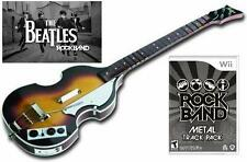 NEW Nintendo Wii Beatles Rock Band Hofner Bass Guitar & RockBand Metal TrackPack