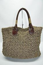 Carrie Forbes Handmade Crocheted Slim Tote Satchel Purse Brown Leather Handles