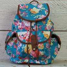 Womens Girls Floral Rucksack Backpack Canvas Travel Bag Vintage Blue Flowers