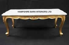 RITZ GOLD LEAF ORNATE COFFEE TABLE WHITE MARBLE TOP FRENCH LOUIS STYLE FREE DE
