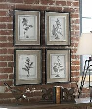Antique Style Botanical Wall Art Prints | Grey Flowers Burlap Framed
