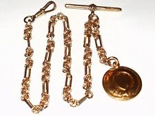 ANTIQUE 9CT ROLLED GOLD ALBERT POCKET WATCH FANCY CHAIN WITH  FOB