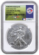2016 1oz American Silver Eagle NGC GEM BU (MLB Toronto Blue Jays Label) SKU40270
