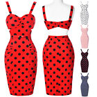Vintage 50s 60's Style POLKA DOT SWING Wiggle Prom Party Pencil Dress