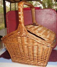 Vintage  Wicker  Mini Sewing Basket Double Flip Top CUTE