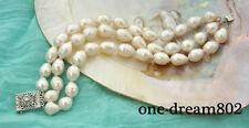 """3strand 8"""" 15mm drip white freshwater pearl bracelet"""