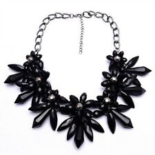 NEW ZARA BEAUTIFUL GLASS BLACK FLOWERS CRYSTAL BEADS  NECKLACE NEW
