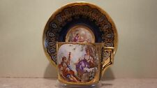 19th Century Royal Vienna Jewels Jeweled Lovers Scene Big Cup & Saucer KPM