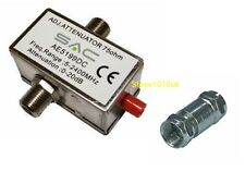 Cable F-Type TV Attenuator Variable  0-20dB  Reduce Signal Level