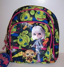 "LITTLEST PET SHOP BLYTHE Green Blue Pink Monkey Music 10"" Mini BACKPACK Tote NEW"