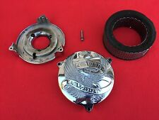 "VINTAGE LIVE TO RIDE HARLEY S&S AIR CLEANER COVER & BACKPLATE RETRO 5.5"" FILTER"