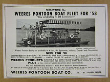 1958 Weeres HOLIDAY Pontoon Boat photo vintage print Ad