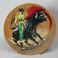 Hand painted and signed  wooden plate with Spanish bullfighter