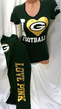 victoria secrets pink Green Bay Packers Nfl Football TSHIRT & SWEATPANTS NWT S