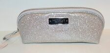 VICTORIA'S SECRET SPARKLY SILVER BEAUTY BAG MAKEUP COSMETIC CASE TRAVEL GLITTER