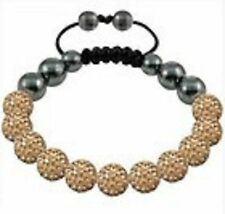 SPARKLY GOLDEN SHAMBALLA BRACELET- 11 DISCO BEADS-CZECH CRYSTAL-UK SELLER