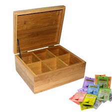 Wooden Bamboo Tea Box 6 Sections with Lid Compartments Container Bag Caddy Chest