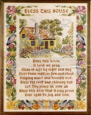 "Vintage Paragon ""Bless This House"" Stamped Cross Stitch Linen Sampler Kit"