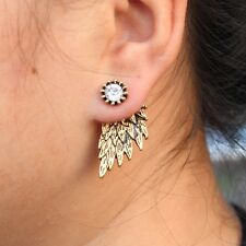 ANGEL WINGS ANTIQUE GOLD plated STUD EARRINGS  CZ CRYSTALS GIFT LADIES