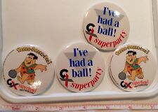 4 X Badge Vintage 80s Collectors Advertising Bowling The Flintstones Super Bowl