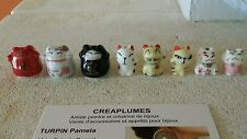 Lot de 8 perles japonais porcelaine Lucky Cat Perles MANEKI NEKO de 17mmà20mm