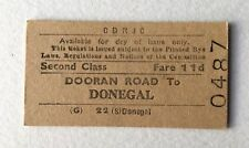 Vintage 1960s CDRJC Irish Railway Train Ticket Donegal Dooran Road Edmondson