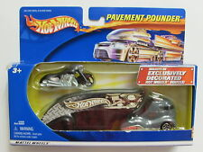 HOT WHEELS  PAVEMENT POUNDERS WITH MATCHING MOTORCYCLE  BLACK
