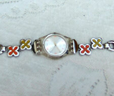 ladies/girls swiss made SWATCH enamalled flowered stainless steel bracelet watch