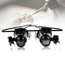 Binocular Glasses Type 20X Watch Jewellery Repair Magnifier with LED Light MS