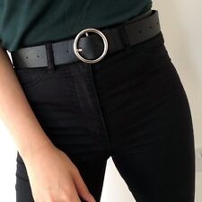 UK Stock Vintage Style  Black Faux Leather Belt Round Silver Grey Buckle NEW