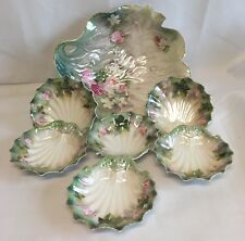 Antique RS Prussia Master Berry Bowl Set in the Sea Shell Mold Pattern