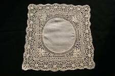 ANTIQUE 1890s SILK MALTESE LACE WEDDING HANDKERCHIEF