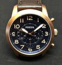 Fossil FS5204 Chronograph Pilot 54 Dark Brown Leather Strap 44mm Men's Watch
