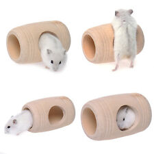 Pet Hamster Wooden Barrel Shaped Hamster Squirrel Bear House Toys Molar Supplies