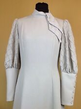 A Vintage 1970s Annie Gough Dress Pale Grey UK Size 10 Sloane Collection