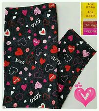 Faded Glory VALENTINES DAY Heart Leggings Women's size LARGE Black Footless NWT