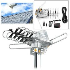NEW Outdoor Amplified Antenna HD TV Dual Output w/ Rotor Remote UHF/VHF/FM Radio