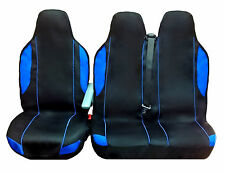 FORD TRANSIT MINIBUS VAN SEAT COVERS BLACK+BLUE (FABRIC) 2+1 SINGLE & DOUBLE
