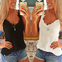 Size 8-22 Sexy V-Neck Sleeveless Casual Lace Vest Tee Shirt Tops Blouse Top Tank