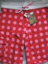 NEW ANIMAL GIRL'S BOARD SHORTS BOARDIES RED PINK POLKA SIZE LARGE 13 - 14 YEARS