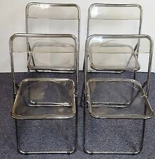 (4) FOLDING LUCITE & CHROME CHAIRS ITALY CASTELLI STYLE MIDCENTURY MODERN 1970's