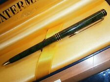 WATERMAN EXCLUSIVE GREEN  MARBLE LAQUE  BALLPOINT PEN NEW IN BX MADE IN FRANCE
