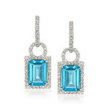5.4CT SOLID 14K WHITE GOLD NATURAL SPARKLY BlUE TOPAZ DIAMOND JEWELRY EARRINGS