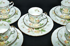 ROYAL ALBERT PARAGON YELLOW PEACE ROSE TEA CUPS SAUCERS LUNCHEON PLATES SET