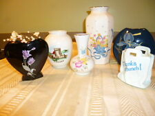 "Lot of 6 Small Flowered* Painted Ceramic Bud Vases 6,4,3.5 & 2.5""Tall, Real Nice"